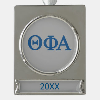 Theta Phi Alpha Lil Big Logo Silver Plated Banner Ornament