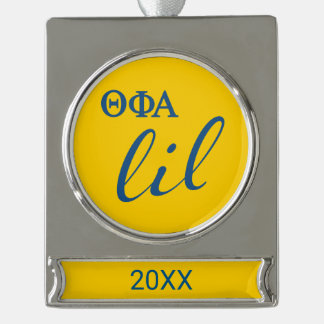 Theta Phi Alpha Lil Script Silver Plated Banner Ornament