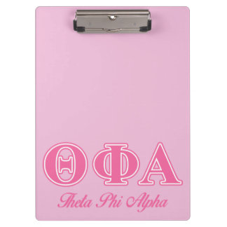 Theta Phi Alpha Pink Letters Clipboard