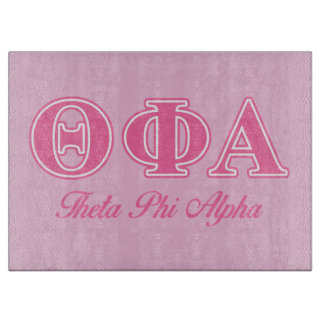 Theta Phi Alpha Pink Letters Cutting Board