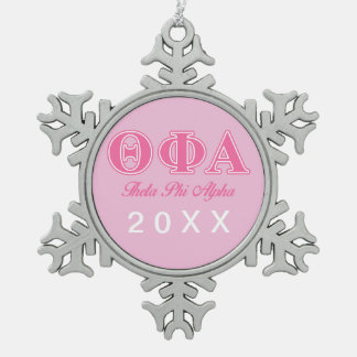 Theta Phi Alpha Pink Letters Snowflake Pewter Christmas Ornament
