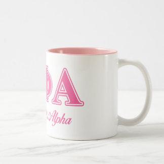 Theta Phi Alpha Pink Letters Two-Tone Coffee Mug