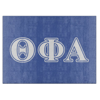 Theta Phi Alpha White and Blue Letters Cutting Board