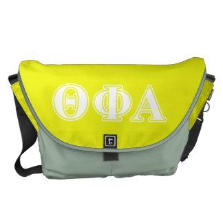 Theta Phi Alpha White and Yellow Courier Bag