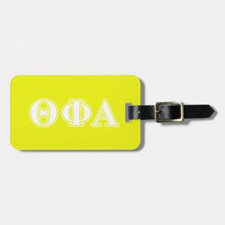 Theta Phi Alpha White and Yellow Luggage Tag