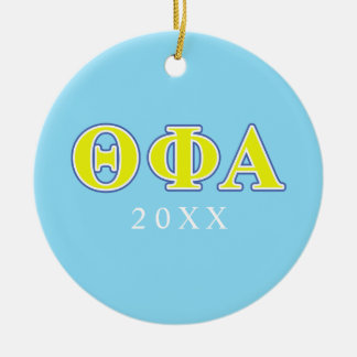 Theta Phi Alpha Yellow and Blue Letters Christmas Ornament