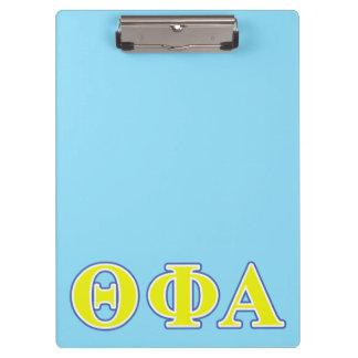 Theta Phi Alpha Yellow and Blue Letters Clipboard