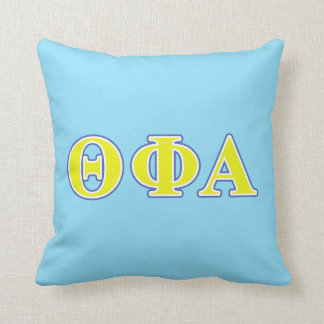 Theta Phi Alpha Yellow and Blue Letters Cushion
