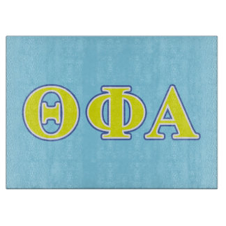 Theta Phi Alpha Yellow and Blue Letters Cutting Board