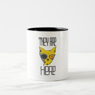 They are here - cats are aliens Two-Tone coffee mug