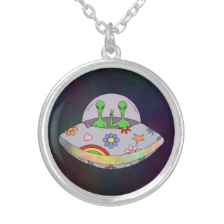 They Come in Peace UFO Silver Plated Necklace