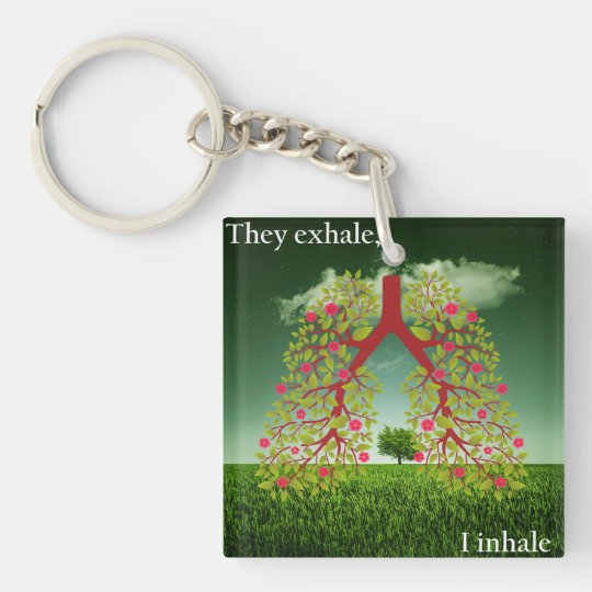 They exhale, I inhale Double-Sided Square Acrylic Key Ring