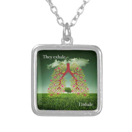 They exhale, I inhale Silver Plated Necklace