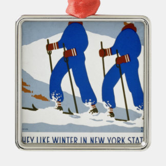 They like winter in New York State Silver-Colored Square Decoration