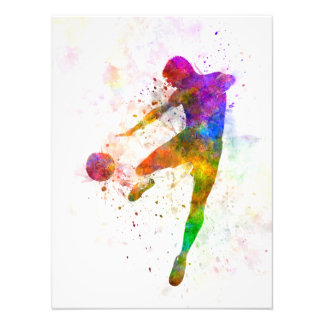 they man soccer football to player flying kicking photographic print