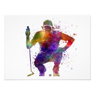 they man to golfer crouching silhouette photo print