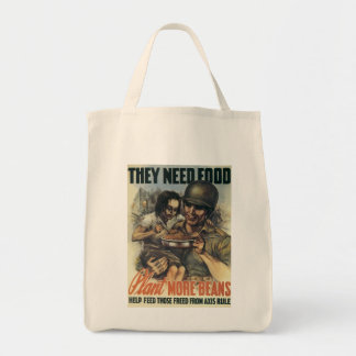 They Need Food ~ Plant More Beans Grocery Tote Bag