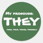 They or Custom Pronoun Round Sticker