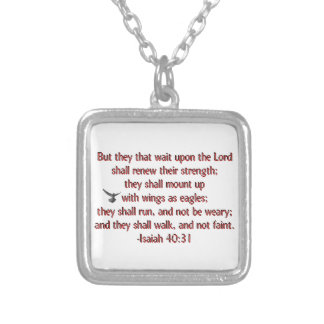 They That Wait Upon the Lord Square Pendant Necklace