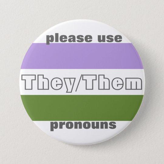 They/Them Pronoun Button Pin