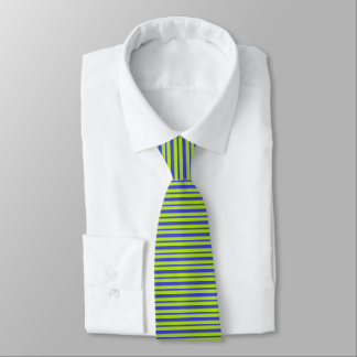 Thick and Thin Blue and Lime Green Stripes Tie