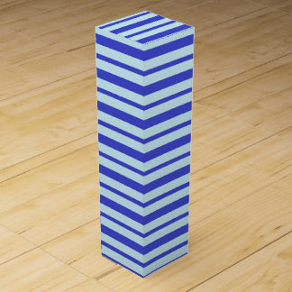 Thick and Thin Blue and Pastel Blue Stripes Wine Box