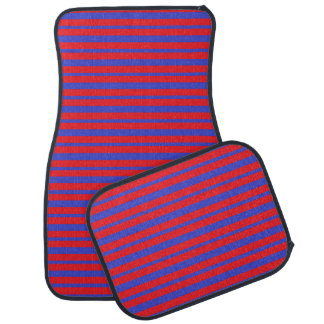 Thick and Thin Blue and Red Stripes Car Mat