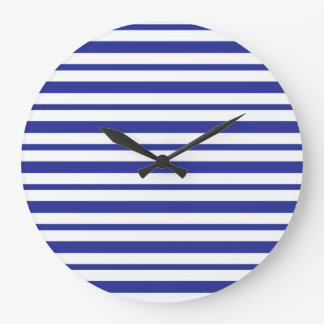 Thick and Thin Blue and White Stripes Large Clock