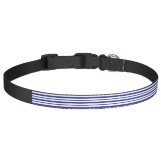 Thick and Thin Blue and White Stripes Pet Collar