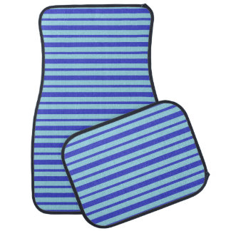 Thick and Thin Blue Stripes Car Mat