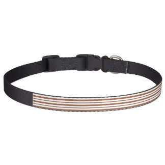 Thick and Thin Brown and White Stripes Pet Collar