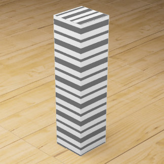Thick and Thin Charcoal Gray and White Stripes Wine Box