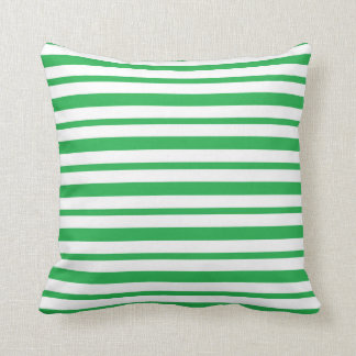 Thick and Thin  Green and White Stripes Cushion