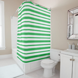 Thick and Thin Green and White Stripes Shower Curtain