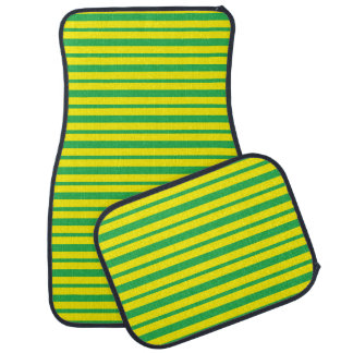 Thick and Thin Green and Yellow Stripes Car Mat