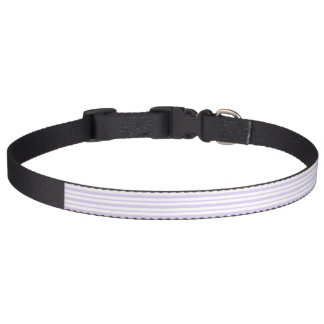 Thick and Thin Lavender and White Stripes Pet Collar