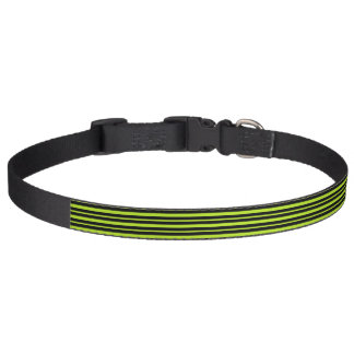Thick and Thin Lime Green and Black Stripes Pet Collar