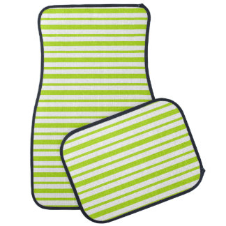 Thick and Thin Lime Green and White Stripes Car Mat