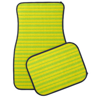 Thick and Thin Lime Green and Yellow Stripes Car Mat
