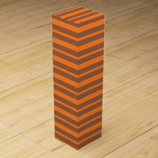 Thick and Thin Orange and Brown Stripes Wine Gift Box