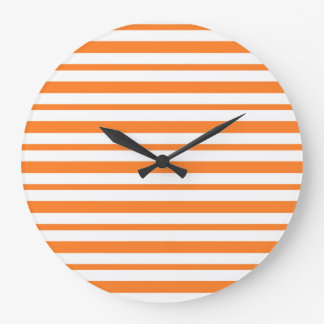 Thick and Thin Orange and White Stripes Large Clock