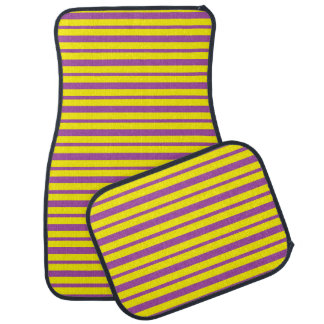 Thick and Thin Purple and Yellow Stripes Car Mat