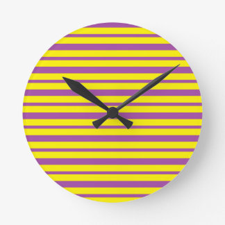 Thick and Thin Purple and Yellow Stripes Round Clock