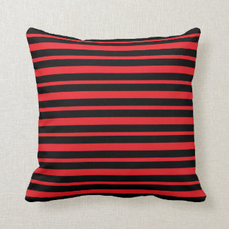 Thick and Thin Red and Black Stripes Cushion