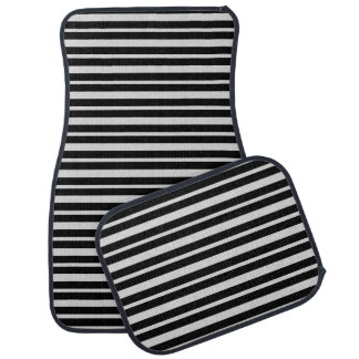 Thick and Thin Silver and Black Stripes Car Mat