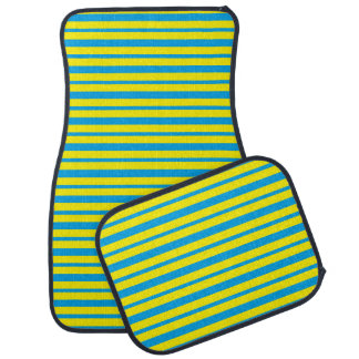 Thick and Thin Turquoise and Yellow Stripes Car Mat