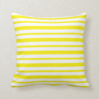 Thick and Thin Yellow and White Stripes Cushion