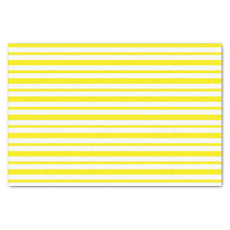 Thick and Thin Yellow and White Stripes Tissue Paper