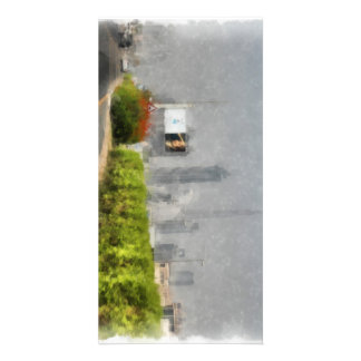 Thick bushes along the side of road photo card template