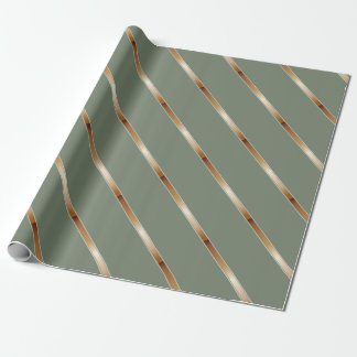 Thick Copper Metallic Diagonal Stripes Wrapping Paper